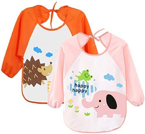 Leyaron 2 Pack Unisex Infant Toddler Baby Waterproof Sleeved Bib, 6 Months-3 Years, Orange Monkey and Pink Rabbit