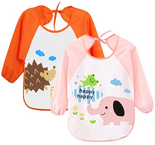 - Leyaron 2 Pack Unisex Infant Toddler Baby Waterproof Sleeved Bib, 6 Months-3 Years, Orange Monkey and Pink Rabbit