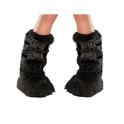 Fancy Face Paint Color Halloween Black Buckle Fur Boot - Boots Contact Lenses
