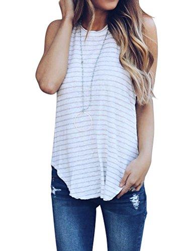 WLLW Women Racerback Sleeveless Round Neck Stripe Print Shirt Tops Tanks Camis