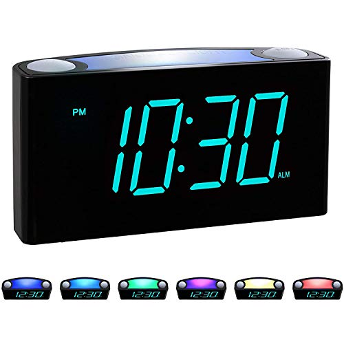 "ROCAM Digital Alarm Clock for Bedrooms - Large 6.5"" LED Display with Dimmer, Snooze, 7 Color Night Light, Easy to Set, USB Chargers, Battery Backup, 12/24 Hours"