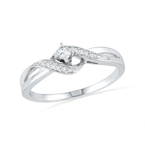 Twisted Diamond Wedding Ring (10KT White Gold Round Diamond Twisted Promise Ring (0.12 cttw) )