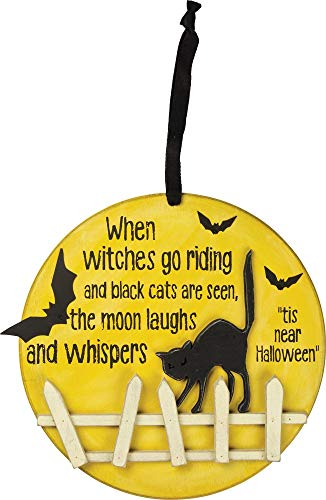 (Primitives by Kathy PBK Halloween Decor - Moon Witches Go Riding Black Cat On Fence)