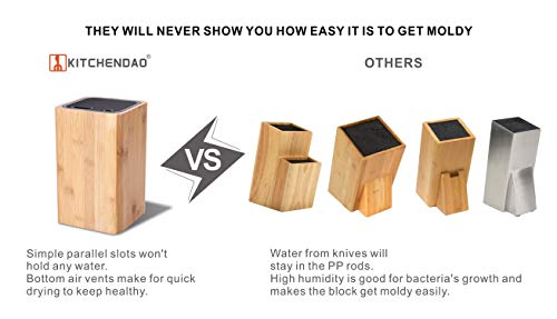 Deluxe Universal Knife Block with Slots for Scissors and Sharpening Rod - Eco-Friendly Bamboo Knife Holder For Safe, Space Saver Knives Storage - Unique Slot Design to Protect Blades - by KITCHENDAO by KITCHENDAO (Image #5)