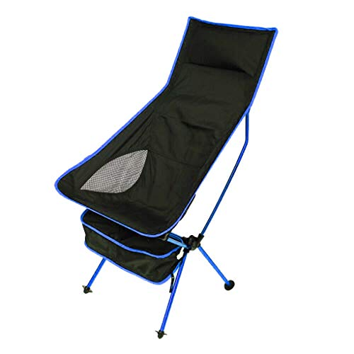 ❤️❤️Jonerytime❤️❤️ Outdoor Portable Camping Aluminum Stool Outdoor Back Folding Chair Fishing (Blue)