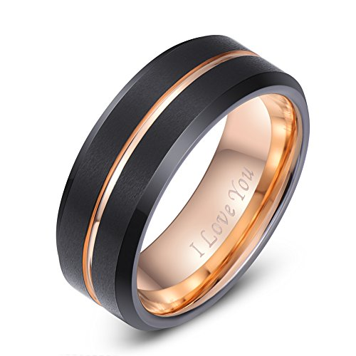 LaurieCinya Black Tungsten Carbide Wedding Band Men Women 8mm Rose Gold Line Ring-Brushed Finish-Comfort Fit-Engraved I Love You - Gold Engagement Wedding Ring