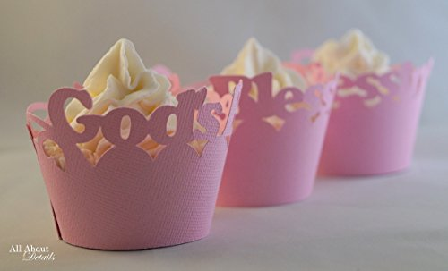 - All About Details Bubblegum Pink God's-blessing Cupcake Wrappers, Set of 12