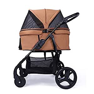 Pet stroller Four-Wheeled Pet Stroller, Pet Stroller, Collapsible Pet Stroller,Pet Supplies,Lightweight and Portable Pet Stroller, for Small and Medium Pets (Color : Khaki)