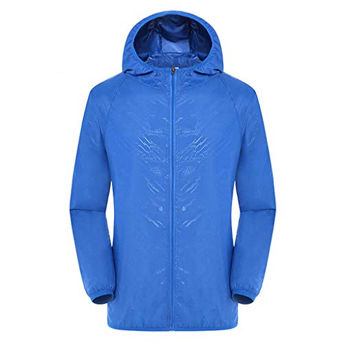 Tantisy ♣↭♣ Women Men's Waterproof Outdoor Active Hooded Rain Trench Jacket Sun Protection Clothing Overalls (No Pockets) Blue