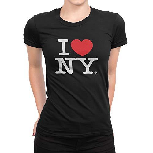 I Love NY New York Womens T-Shirt Spandex Tee Heart Black Large (Ny Heart Tshirt I)