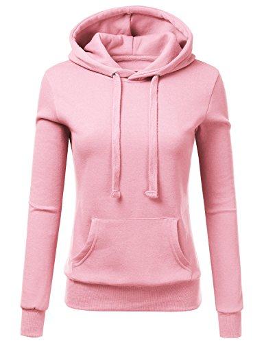 Womens Pink Hoodie Sweatshirt - Doublju Basic Lightweight Pullover Hoodie Sweatshirt for Women CANDYPINK Medium