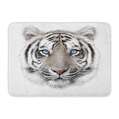 Emvency Doormats Bath Rugs Outdoor/Indoor Door Mat Face Portrait of White Bengal Tiger Blue Eyes Big Mascot Power Animal Bathroom Decor Rug Bath Mat 16