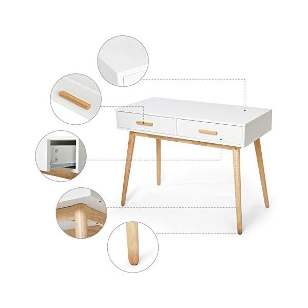 Meerveil – Bureau d'Ordinateur – Table Informatique en Bois avec 2 Tiroirs Style Scandinave pour Bureau Salle d'Etude…