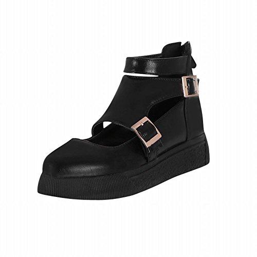Carolbar Kvinna Sommarbruk Mode Multi Spänne Komfort Tillfällig Blixtlås Borrat Låg Klack Sandaler Skor Svart