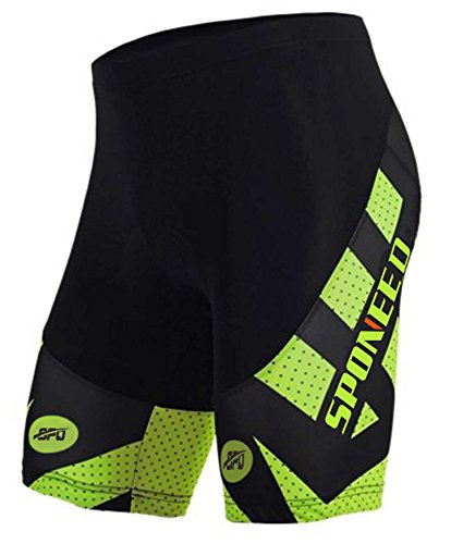 Sponeed Bicycle Shorts for Men Ourdoor Wear Spinning Bike Shorts Tights Padded Bicycle Pants Asia XL/ US - Mens Triathlon Clothing