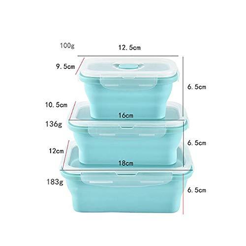 JUNGEN Silikon Lunch-Boxen Sets Faltbar Brotdose Hohe Temperaturbest/ändigkeit Bento Boxen Essen Aufbewahrungsbox