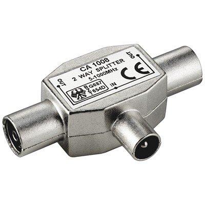 2 Geräte Verteiler (RF), metall Gehäuse, 2 x Koaxial-Kupplung>Koaxial-Stecker