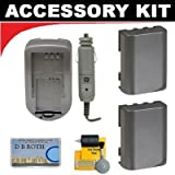 Two(2) Spare Batteries + Charger For The Panasonic PV-GS2, PV-GS9, PV-GS12, PV-GS14, PV-GS15, PV-DV52, PV-DV100, PV-DV102, PV-DV103, PV-DV953, PV-VM202 Mini Dv Camcorders