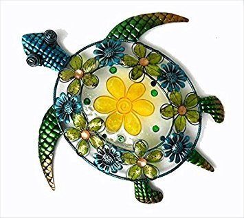 Continental Art Center CAC10120 Acrylic Beaded Flower Sea Turtle Wall Decor, 19.3 by 18.5 by 2-Inch ()