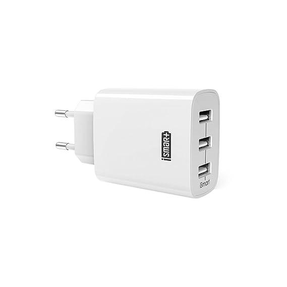 Chargeur USB Secteur 3 Ports Universel Secteur Mural RAVPower (24W/5V 4.8A max) avec Technologie de Charge iSmart, Adaptateur Secteur USB pour Apple iOS, Android, Appareils Portable Windows, etc. - Blanc
