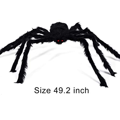 VeMee Halloween Spider Decoration Fake Realistic Hairy Scary Spider Giant 50inch Haunted House Prop Black Spider Plush Prank Toy Halloween Indoor Outdoor Decoration ()