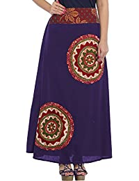 Exotic India Long Skirt with Applique-Work and Mirrors