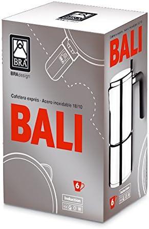 BRA Bali-Cafetera Italiana, Acero Inoxidable, 18/10, 6 Tazas, 8.5 ...