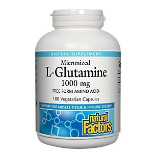 Natural Factors, Micronized L-Glutamine 1000 mg, Supports Healthy Muscle Tissue and Immune System Function, 180 Capsules (180 Servings)