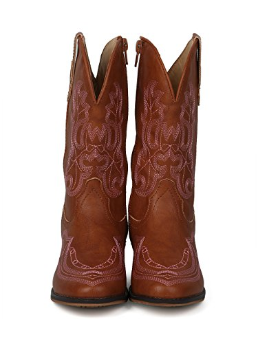 Alrisco Girls Leatherette Embroidered Tall Cowboy Boot HG02 - Tan Leatherette (Size: Little Kid 1) by Alrisco (Image #3)