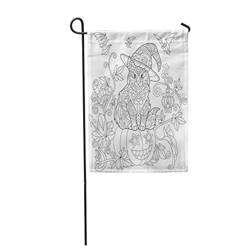 Tarolo Decoration Flag Coloring Page of Cat in Hat Sitting on Halloween Pumpkin Flying Bats Spider Lantern Candle Freehand Sketch Drawing Thick Fabric Double Sided Home Garden Flag 12