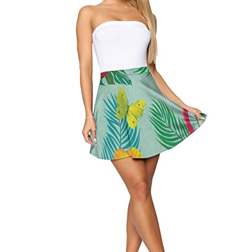 - Girl Dress,Tropical Flamingo Bird Butterfly Palm Tree Amazing Mini Skirt for Casual Size:XL