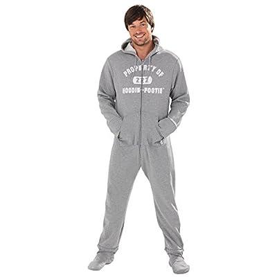 Wholesale PajamaGram Men\'s Hoodie-Footie Gray Varsity Zip-Front Onesie Pajamas, Gray piVKgUKo