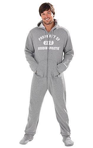 PajamaGram Men's Hoodie-Footie Gray Varsity Zip-Front Onesie Pajamas, Gray