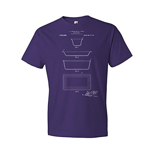 (Pyrex Glass Dishes T-Shirt, Vintage Glassware, Culinary Gift, Chef Gifts, Cooking Equipment, Cookware Blueprint Purple)