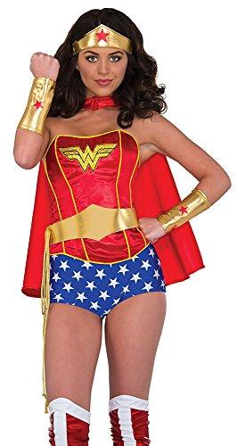 Gold Costume Belt (Rubie's Women's Dc Comics Wonder Woman Accessory Kit: Tiara, Belt with Lasso, Gauntlets, Multi, One Size)
