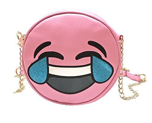 Olivia Miller Girl Tears of Joy Pink Emoji Crossbody Purse
