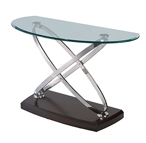 Cherry Oval Sofa Table - Emerald Home Vision Brown Sofa Table with Half Oval Glass Top, Wood Base, And Chrome Ring Legs