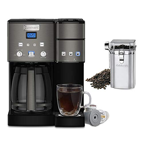 Cuisinart SS-15BKS Coffee Center 12 Cup Coffeemaker and Single-Serve Brewer (Black) and Coffee Canister Bundle (2 Items)