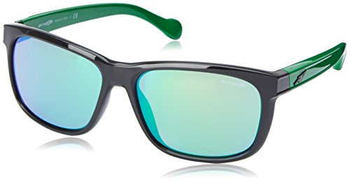 Arnette Slacker AN4196-02 Rectangular Sunglasses,Gloss Black/Bright Green/Citrus Chrome,59 mm (Sunglasses Green Arnette)