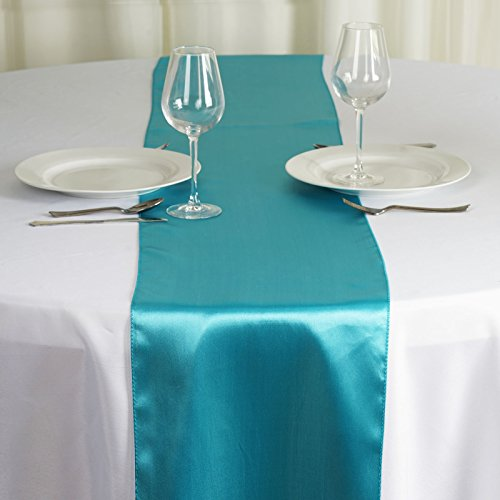 BalsaCircle 10 pcs 12 x 108 inch Turquoise Satin Table Runners Wedding Table Top Party Supplies Reception Linens Decorations]()