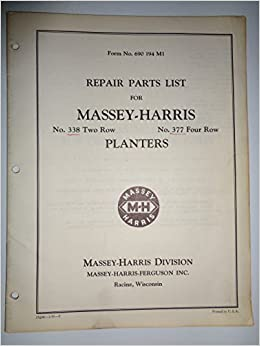 Massey Harris 338 And 377 Two And Four Row Planter Parts Catalog