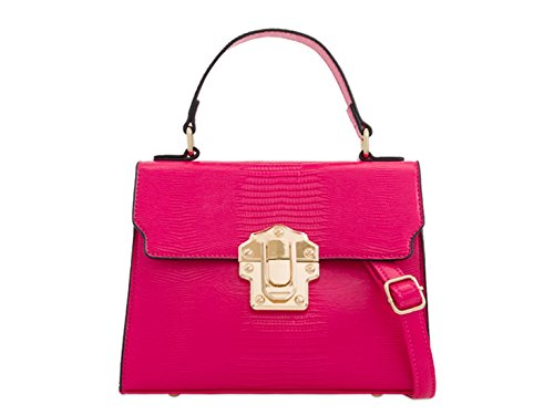 Women's Fuchsia 2299 LeahWard Leather Small Cross Body Satchel Handbags Faux SAZqw14p