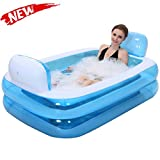 Bathtubs Freestanding Inflatable Bath Tub Adult Tub, Stylish Home Bath Comfortable Folding Bath Tub Blue Inflatable Relieve Fatigue