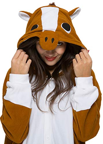 Unisex Adult Brown Horse Pyjamas Halloween Costume One Piece Animal Cosplay Onesie -