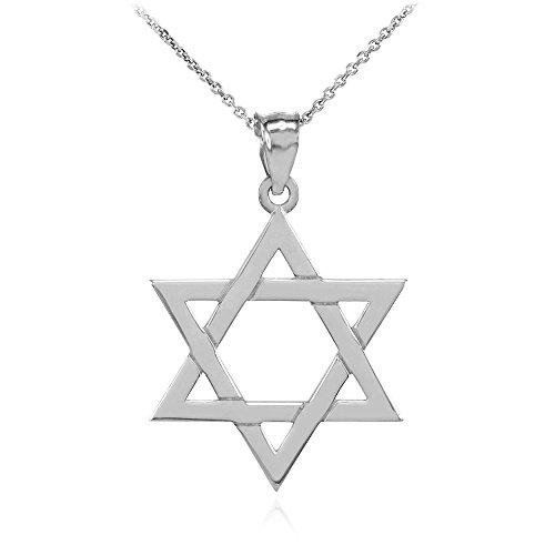 Collier Femme Pendentif 14 Ct Or Blanc Juif Étoile De David Charme (Petit) (Livré avec une 45cm Chaîne)