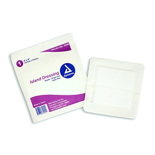 Dressing Pads (Dynarex Island Dressing - Bordered Wound & Surgical Incision Non-Stick Dressings - Sterile (Individually Wrapped) - Large 6