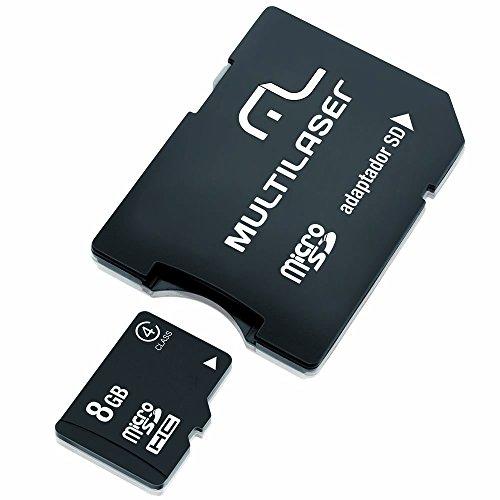 Adaptador 2 em 1 SD + Cartão De Memória com Trava de Segurança Classe 4 8GB Preto Multilaser - MC004