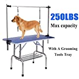 Gelinzon Pet Grooming Table for Large Dogs Adjustable Height -Portable Trimming Table Drying Table w/Arm/Noose/Mesh Tray Maximum Capacity Up to 220-300Lb Blue 46''x 24''