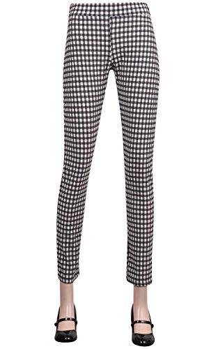 ililily Black & White Gingham Check Lightweight Stretch Elastic Waistband Pants (pants-188-1-L) (Plaid White Pants)