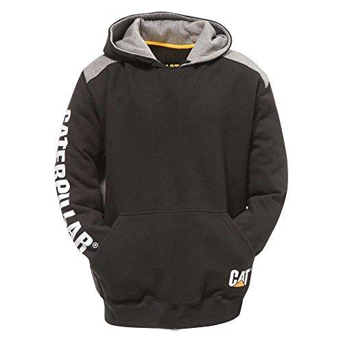 Caterpillar Men's Tall Logo Panel Hooded Sweatshirt (Regular and Big Sizes), Black, 4X Large